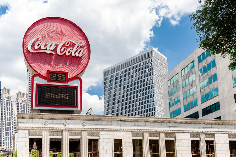 Exterior shot of the Coca Cola Headquarters in Downtown Atlanta.